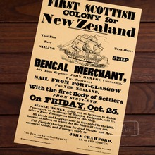 Primera colonia escocesa para Nueva Zelanda NZ noticias viejo Vintage Retro lienzo marco póster DIY pared Home Posters decoración del hogar regalo