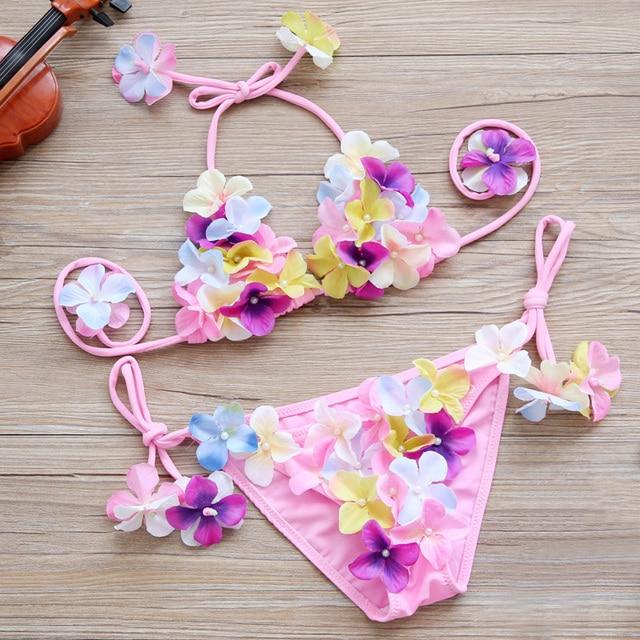 2018 новые летние девушки цветочные купальник 2 предмета Радуга Красочные бикини дети милый цветок Детские купальники купальный костюм пляж