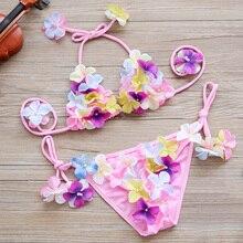 2018 New Summer Girls floral swimsuit two pieces rainbow colorful Bikini Kids Cute Flower Swimwear baby bathing suit beach