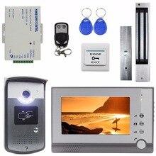 Diykit магнитный замок 7 дюймов tft Цвет Видео Домофонные визуальные домофон Дверные звонки ID Разблокировка RFID светодиодный Ночное видение Камера
