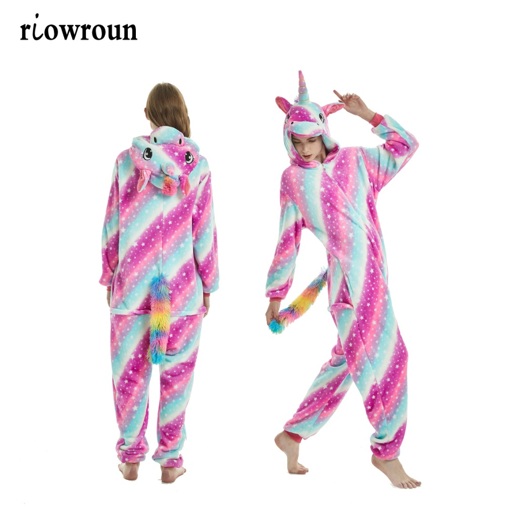 Adulto Kigurumi Onesie Anime Costumi Cosplay Cartoon Animal Sleepwear Stitch Star Unicorno Pikachu Inverno caldo con cappuccio 2019