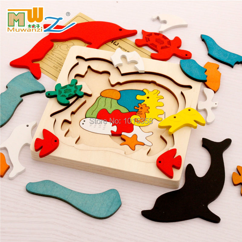Free shipping kids children educational wooden font b toys b font multilayer cartoon 3D animal puzzle