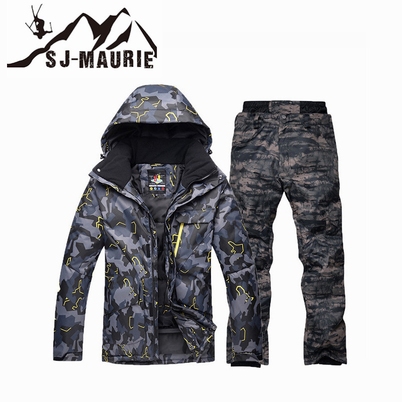 Sj-maurie hommes hiver Ski costume veste pantalon Camouflage veste Snowboard neige costume ensemble imperméable coupe-vent chaud veste manteau