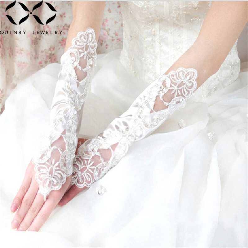 Quinby Wedding Gloves Women Fingerless Bridal Gloves Long Sequin Lace gant mariage femme Party gloves Wedding Accessories Q5 in Bridal Gloves from Weddings Events