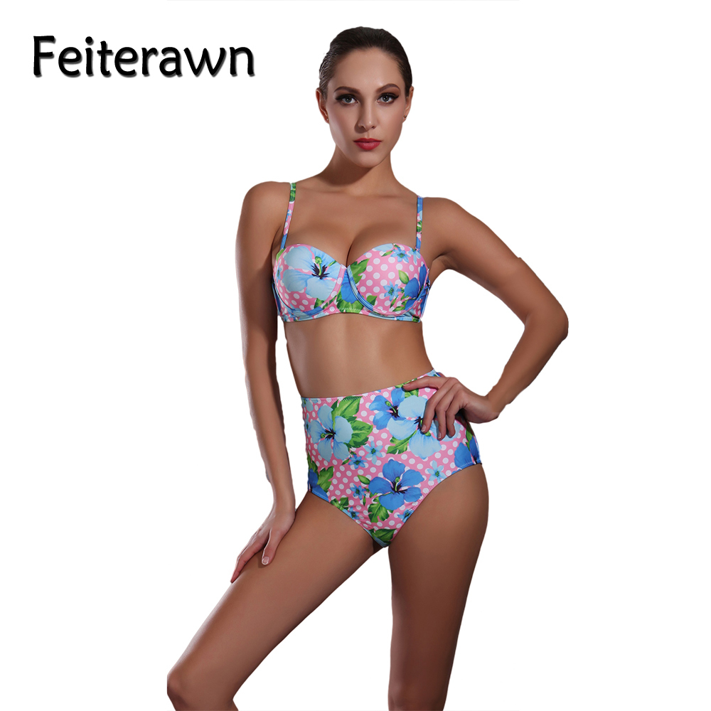 Feiterawn Flower Bikini Set High Waist Swimsuit Women 2017 Push Up Swimwear Female Sexy Bikini Beachwear Bathing Suit JR1613 2017 push up bikini high waist swimsuit swimwear women sexy bikinis set floral female swimsuit bikini set beachwear bathing suit