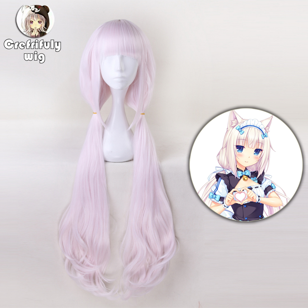 NEKOPARA Chocolat Vanilla Full Wig Pink Brown Cosplay Long Ponytail Hair Wig