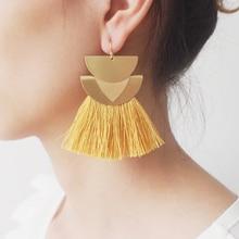 MANILAI Bohemian Handmade Tassel Earrings For Women Big Alloy Fringed Statement Drop Earrings Wedding Party Jewelry