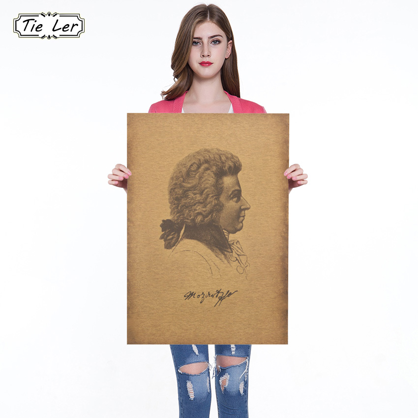 Famous Musician Composer Wolfgang Amadeus Mozart Kraft Paper Cafe Bar Poster Retro Poster Decorative Painting Wall Stickers image