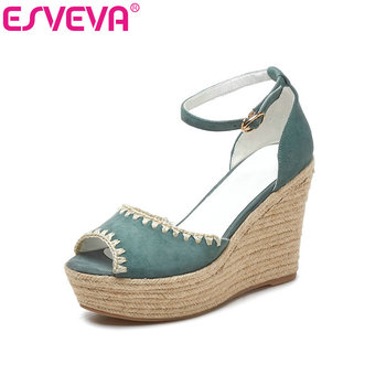 ESVEVA 2019 Women Sandals PU+Kid Suede Wedge High Heel Mixed Color Peep Toe Buckle Fashion Slingback Shoes Size 34-39