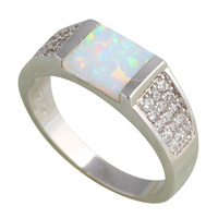 Fashion Rings For Women Wholesale Retail White Fire Opal 925 Sterling Silver Rings USA Size 5