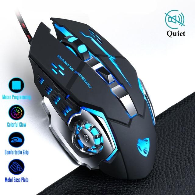 Pro gamer gaming mouse 8d 3200dpi ajustável, com fio óptico, led computador, ratos, usb cabo silencioso, mouse para computador portátil 1