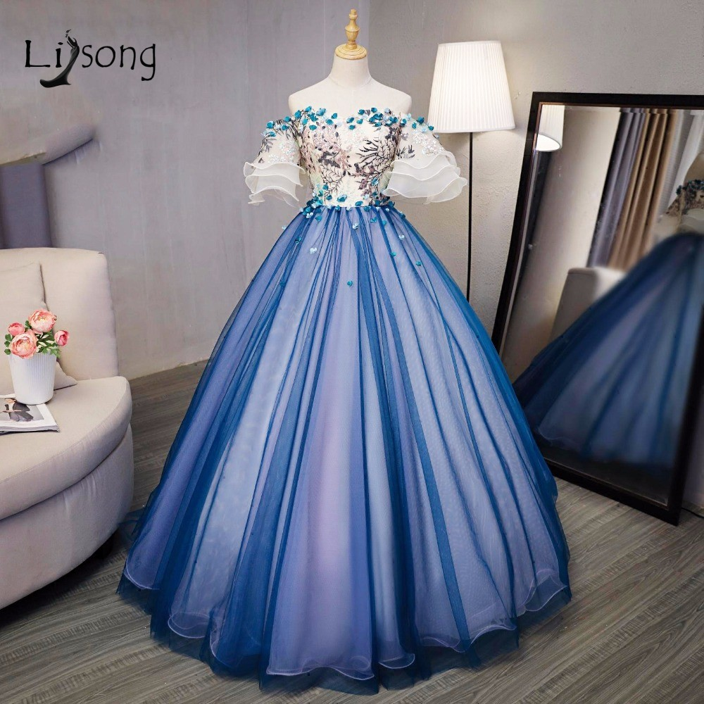 Ball Gown Embroidered Wedding Dress: Blue Embroidery Puffy Evening Ball Gown Flared Sleeves