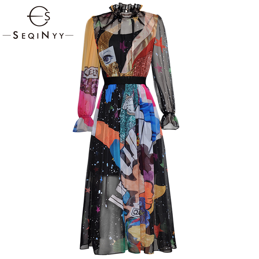 SEQINYY Chiffon Dress 2019 Early Spring Summer New Fashion Long Lantern Sleeve Elastic Waist Angel Colorful Printed Long Dress in Dresses from Women 39 s Clothing