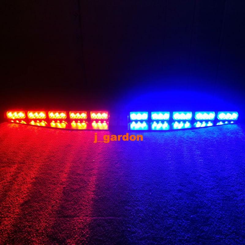 2 x 15 LED 1 Watt Red/Blue Emergency Beacon Light Bar Exclusive Split Visor Deck Dash Hazard Strobe Warning LightBar