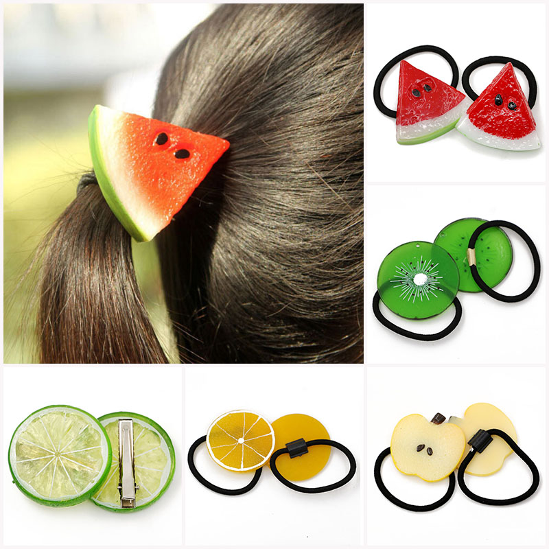 1Pc Fruit Slice Multi-Patterns Girl Women Elastic Rubber Bands Hair Clips Headwear Tie Gum Holder Rope Hairpins Hair Accessories halloween party zombie skull skeleton hand bone claw hairpin punk hair clip for women girl hair accessories headwear 1 pcs