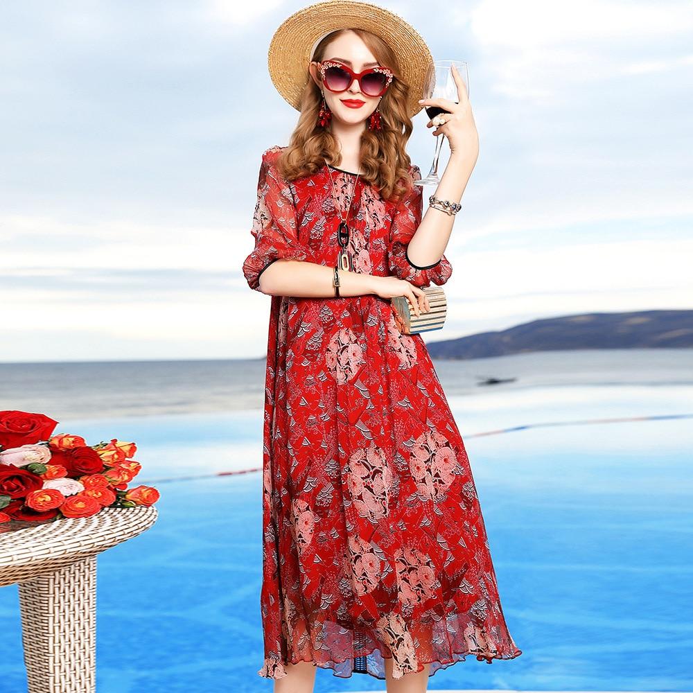 Femmes soie robe grande taille M-3XL printemps été 2019 nouvelle mode col rond trois quarts manches lâche tenue décontractée Midi