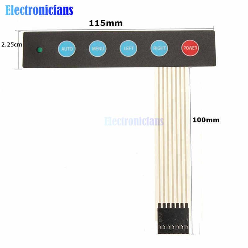 LED 1x5 Matrix Array 5 Key Membrane Switch Keypad Keyboard Menu Auto For  Arduino