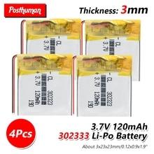 цена на 3.7V lithium ion polymer battery 302323 120mAh for MP3 Bluetooth headset watch smart band MP3 GPS LED light watch locator