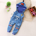 2017 new spring children bib Infant Baby Bib hooded children jeans