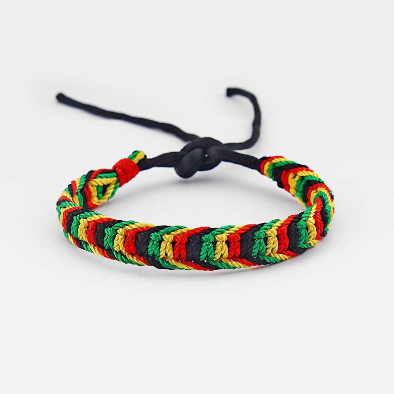 1 Pcs Rasta Persahabatan Gelang Gelang Katun Sutra Reggae Jamaica Surfer BoHo Adjustable Perhiasan