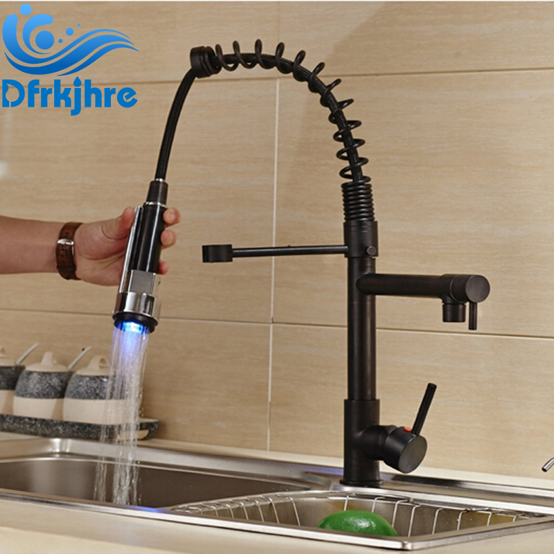 Oil Rubbed Bronze LED Light Pull Down Spray Kitchen Sink Faucet Swivel Spout Mixer Tap oil rubbed bronze spring kitchen faucet swivel spout pull out kitchen sink mixer tap deck mounted