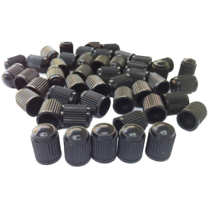 Ambitious High Quality 100pc Black Plastic Tire Valve Stem Caps