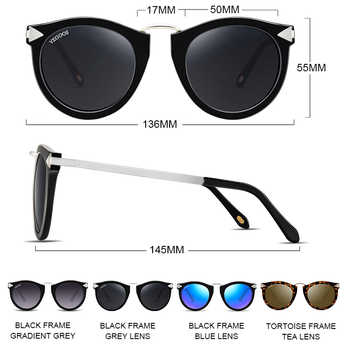 VEGOOS Vintage Fashion Round Arrow Style Polarized Sunglasses for Women Mirrored Lenses UV400 Protection Ladies Shades #6107