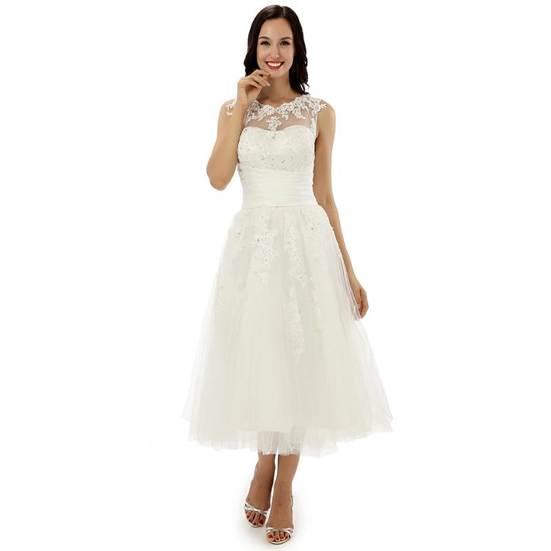 Audrey Hepburn Style Lace Knee Length Vintage Wedding Dresses lace ...