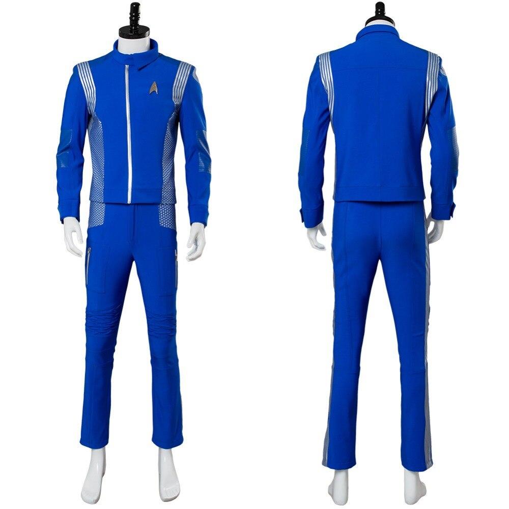 2018 Star Trek Cosplay Costume Discovery Lt.Saru Cosplay Costume Blue Adult Mens Science Crewman Uniform Halloween Carnival