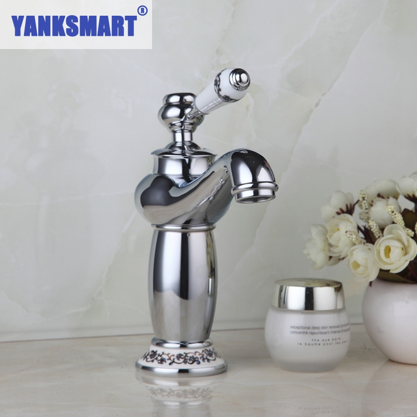 YANKSMART Bathroom Basin Faucet Deck Mounted Chrome Faucet and white painting Mixer Tap Single Handle Hole Hot & Cold Water Tap ...