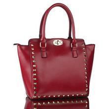 Высокое качество женщина посыльного офис дамы старинные заклепки сумки с большим объемом сумки бренда кожаный мешок