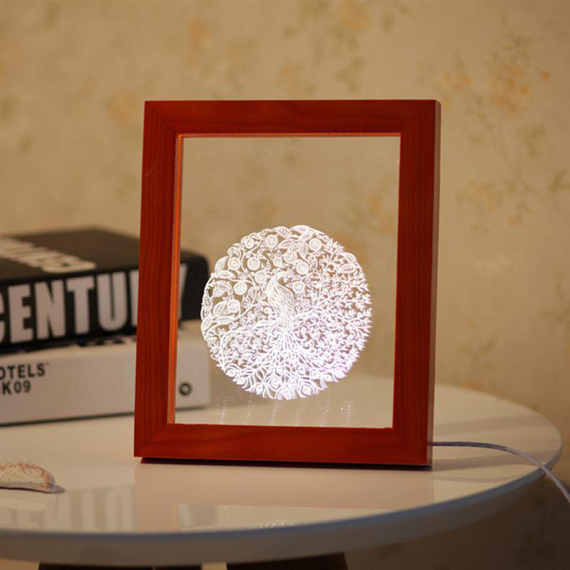 Wood Bird Queen Creative Lamp 3D Acrylic Photo Frame Light USB Port Real Wood LED Desk Lamp Birthday Present New Strange Lights