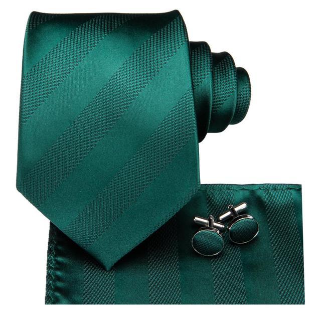 C-3126 Hi-Tie Luxury Silk Men Tie Striped Green Necktie Handkerchief Cufflinks Set Fashion Men's Party Wedding Tie Set 8.5cm 1