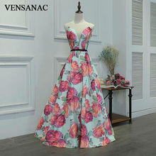 VENSANAC 2017 New A Line Pattern O Neck Long Evening Dresses Sleeveless Elegant Flowers Tank Lace Appliques Party Prom Gowns