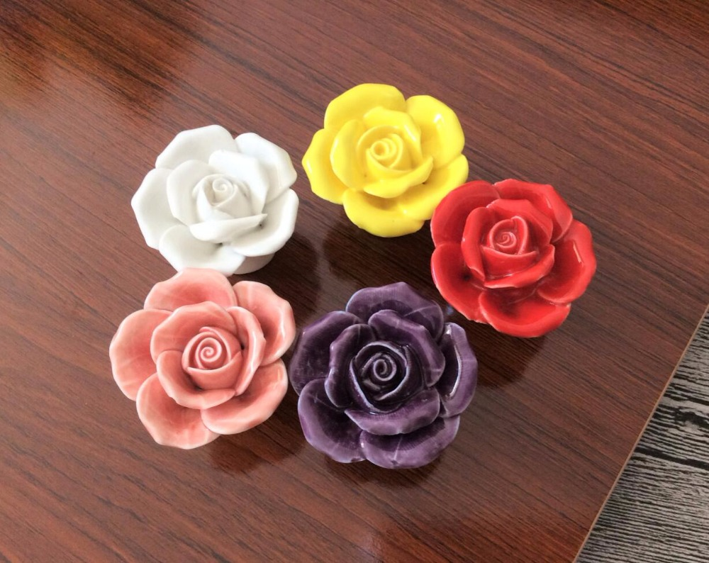 Ceramic Rose Flower Knob Drawer Pulls Handles Knob /  Klichen Cabinet Pulls handles Cupboard Knobs Handle Furniture Hardware new 10pcs 30mm k9 crystal cabinet knobs furniture hardware drawer handles wardrobe pulls cupboard shoes box knobs