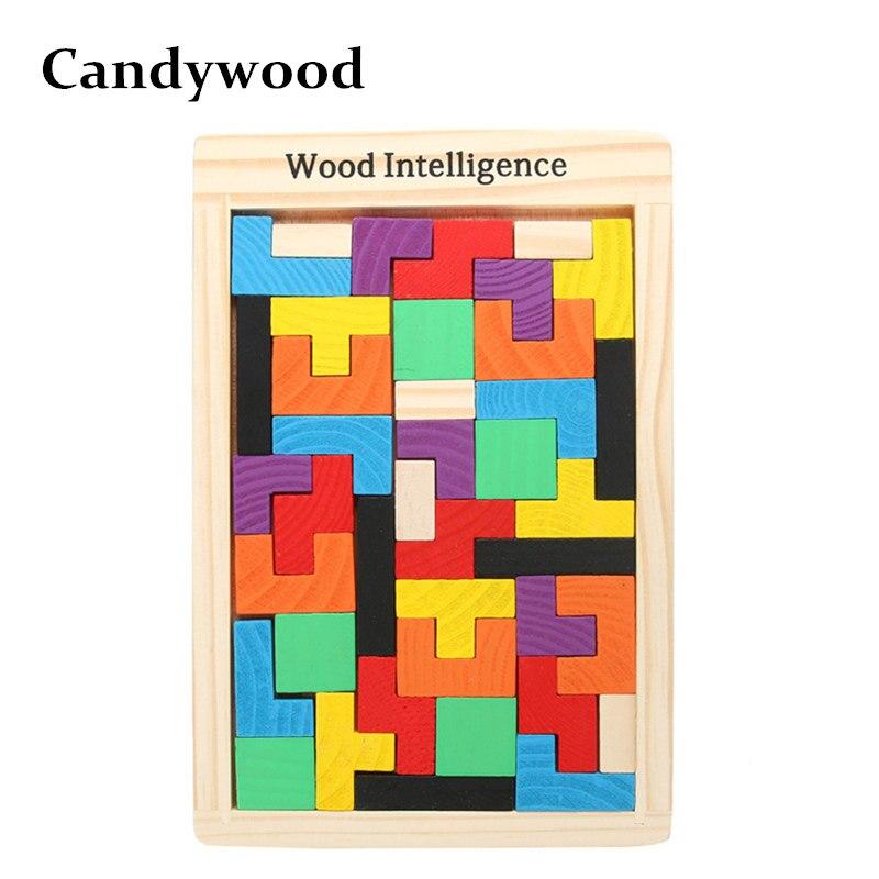Candywood neue bunte holz tangram gehirn teaser-puzzle spielzeug tetris-spiel für baby kind kinder pädagogisches puzzle spielzeug