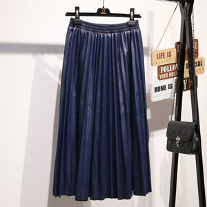 Image 4 - Surmiitro PU spódnica kobiety 2019 jesienno zimowa Midi długi koreański elegancki plisowana wysokiej talii skórzana spódnica kobiet linia spódnica biurowa