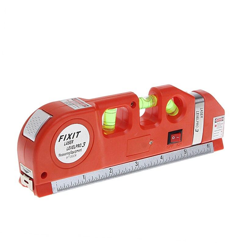LV03 High Quality Multipurpose Level Laser Horizon Vertical Line Tape 8FT 2 way level bubbles Level Laser Ruler Ruler Red