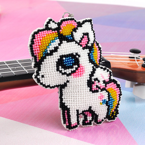 DIY Craft Stich Bead Cross Stitch Key Chain Accessories Stamped Needlework Embroidery Crafts Printed Cross-Stitching Kit Horse(China)