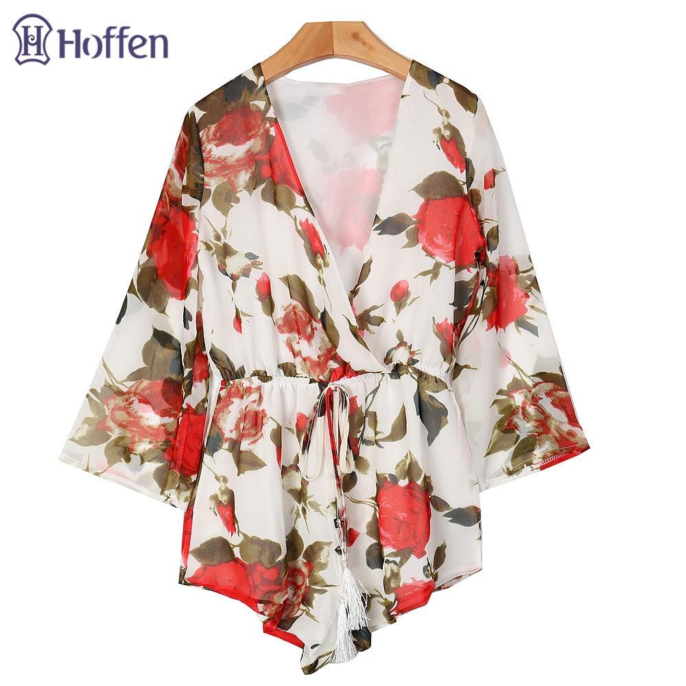 Hoffen Hot Sale Damen Blumenspielanzug V-Ausschnitt Hohe Taille - Damenbekleidung - Foto 4