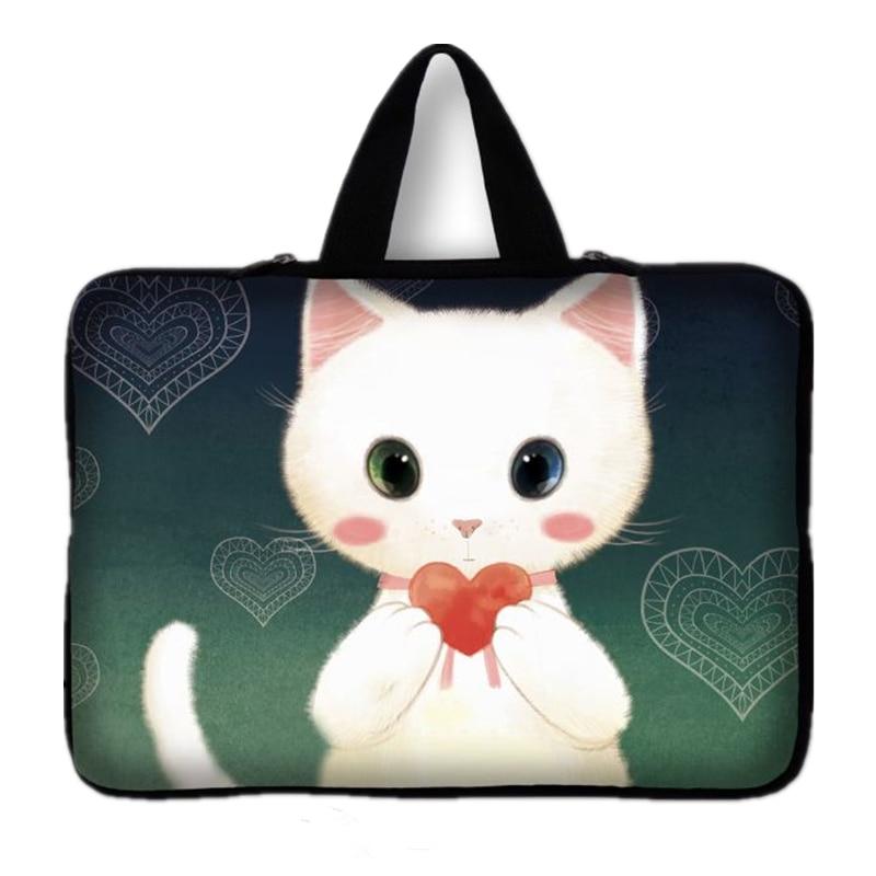 10,12, 13,14, 15,17 дюймов прекрасный кот Тетрадь Laptop Sleeve сумка ручка для переноск ...