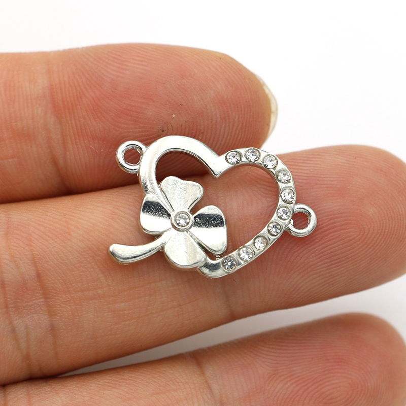 JAKONGO Antique Silver Plated Crystal Clover Heart Connectors For Making Bracelet DIY Jewelry Accessories 25x17mm 5pcs