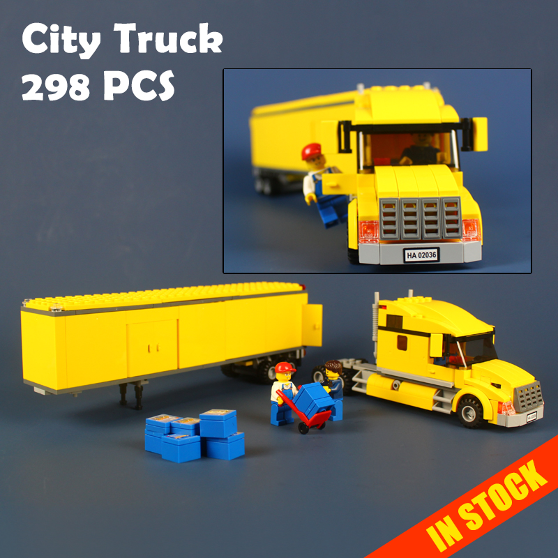 298pcs 02036 City Great Vehicles City Airport TRUCK Building Blocks Figures Model Brick Toy Gift Compatible With Lego 3221 lepin 02036 298pcs city truck building block compatible 3221 brick toy