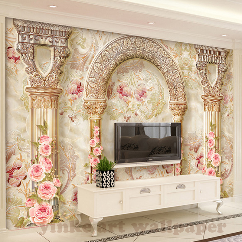 Us 9 13 46 Off Custom Photo Wallpaper Europe 3d Marble Pillar Flower Living Room Tv Background Wall Painting Home Decor Wallpaper Mural In