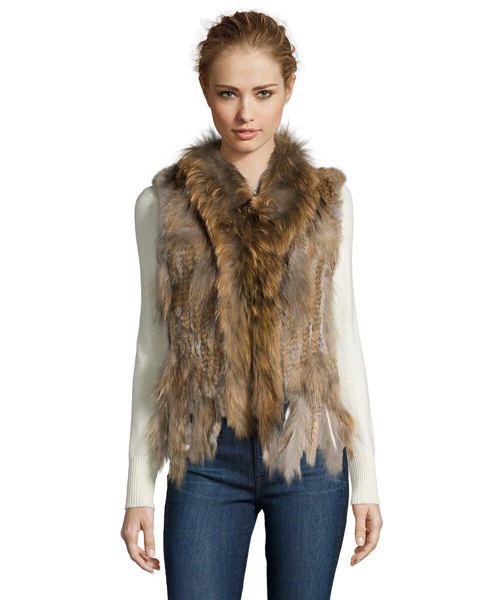 Femmes réel fourrure de lapin tricoté réel fourrure de raton laveur col Gilet Chaleco grande taille Extra grande taille S-7XL YH6