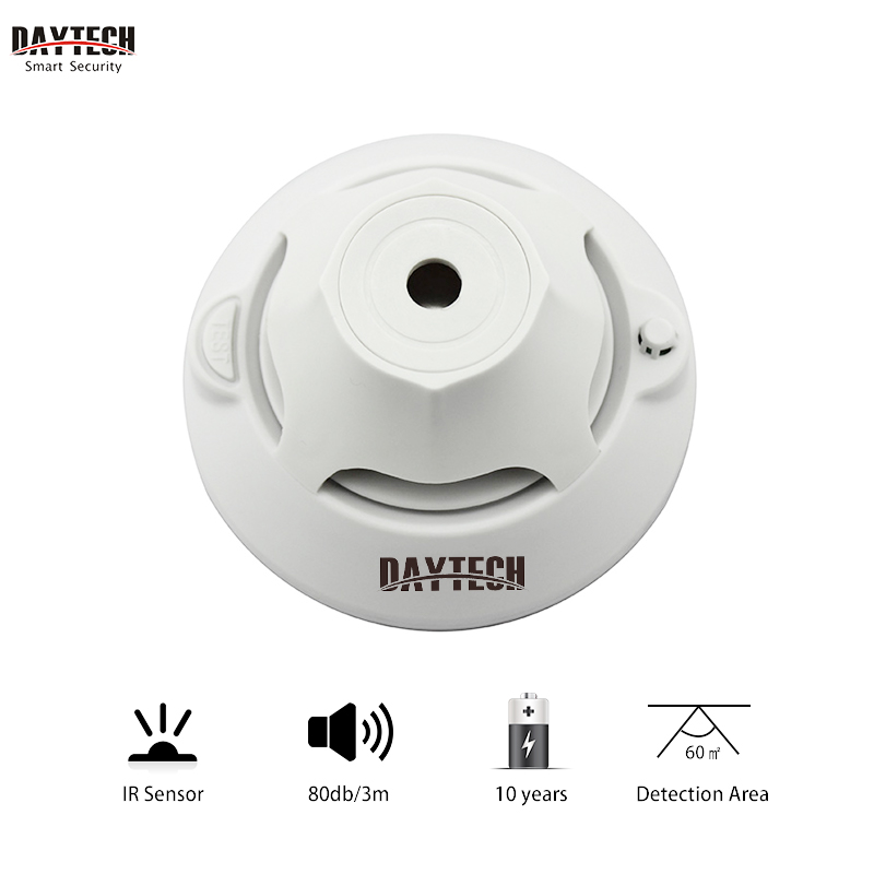 DAYTECH Cordless Fire Detector Sensor Photoelectric Smoke Detecor Alarm 10 Years Battery Sound Red Light Flash Indicator Warning