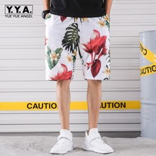 Printing Knee Length Mens Board Shorts Waist Drawsting Loose Fit Male Beach Casual