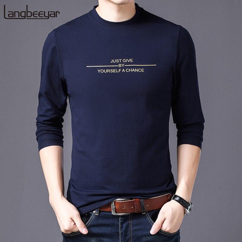 High Quality 2019 New Fashion Brand   T     Shirt   Men Korean Print Trends Streetwear Tops One Piece Long Sleeve   T  -  Shirt   Mens Clothing