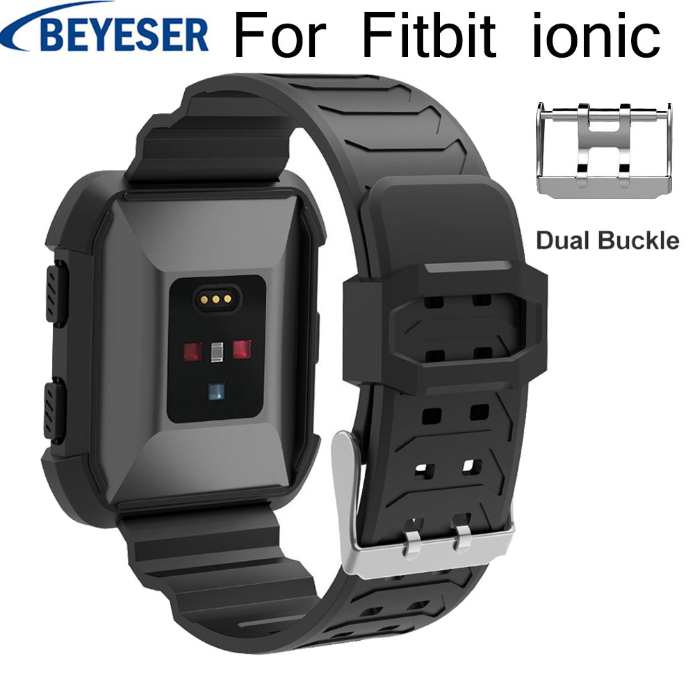 Silicone Wrist strap for Fitbit Ionic Personality replacement Dual buckle watchstrap watchband ionic bands