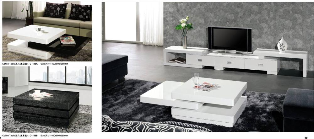 Rolling Coffee Table And Tv Cabinet Set Piano White And Black Wood